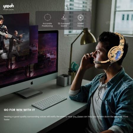 Yopah J1 Gaming Headset - Grey Camouflage
